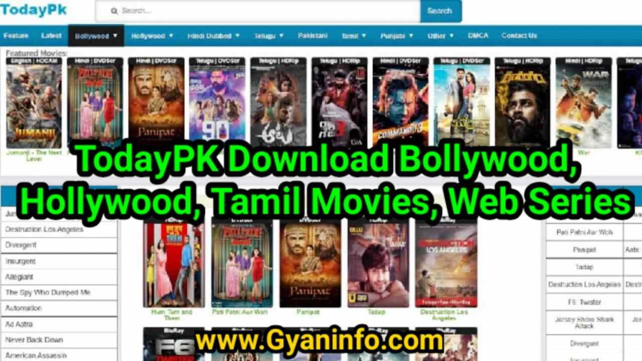 TodayPk 2020 – Download Bollywood, Hollywood, Tamil Movies, Series